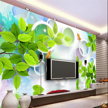 beibehang Customized Nonwovens Wallpaper Dream Green Leaf Butterfly Circle 3D