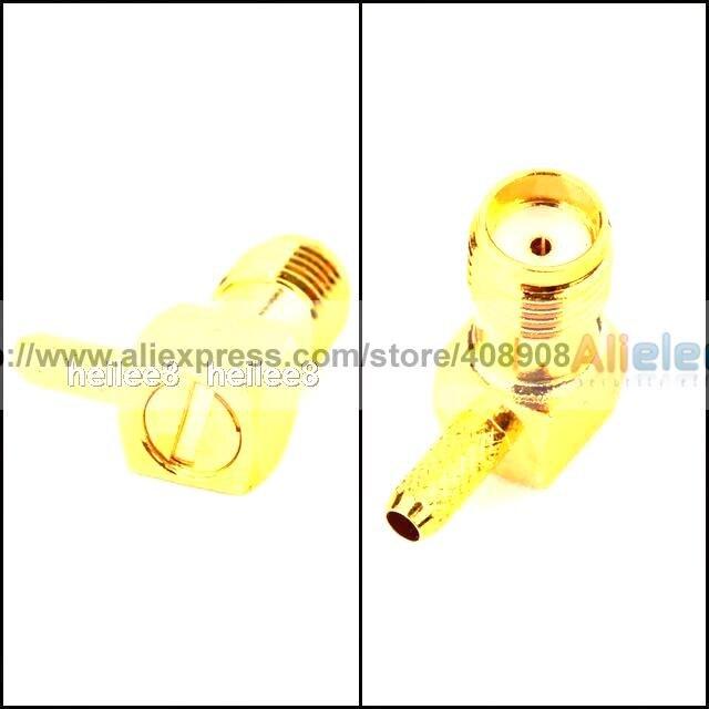 30 PCS  x SMA Crimp female right angle RF Coaxial connector rf coaxial right angle bnc female connectors silver yellow 5 pcs