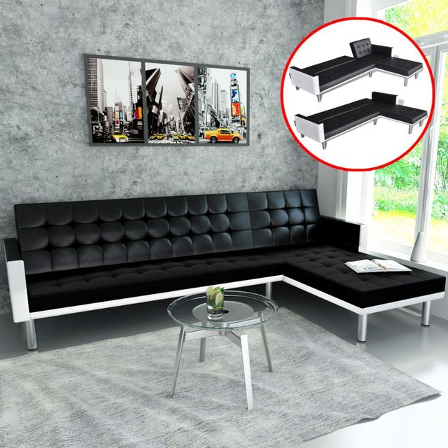Vidaxl L Shaped Sofa Bed Artificial Leather Black And White