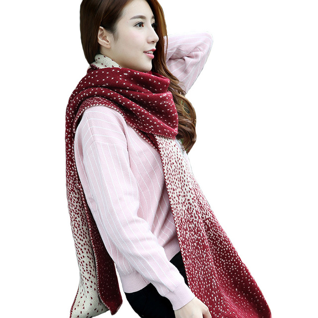 Winter Warm Scarf Design Dots Shawls Long Scarves Femme Thicken Shawl Pashmina Dry Acrylic Designer Sweater Knitted Wraps J039
