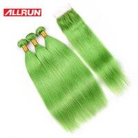 Allrun ברזילאי צבע ירוק דשא 3 חבילות עם 4*4 סגירת תחרה 100% הארכת שיער אדם רמי 4 יח'\חבילה משלוח חינם