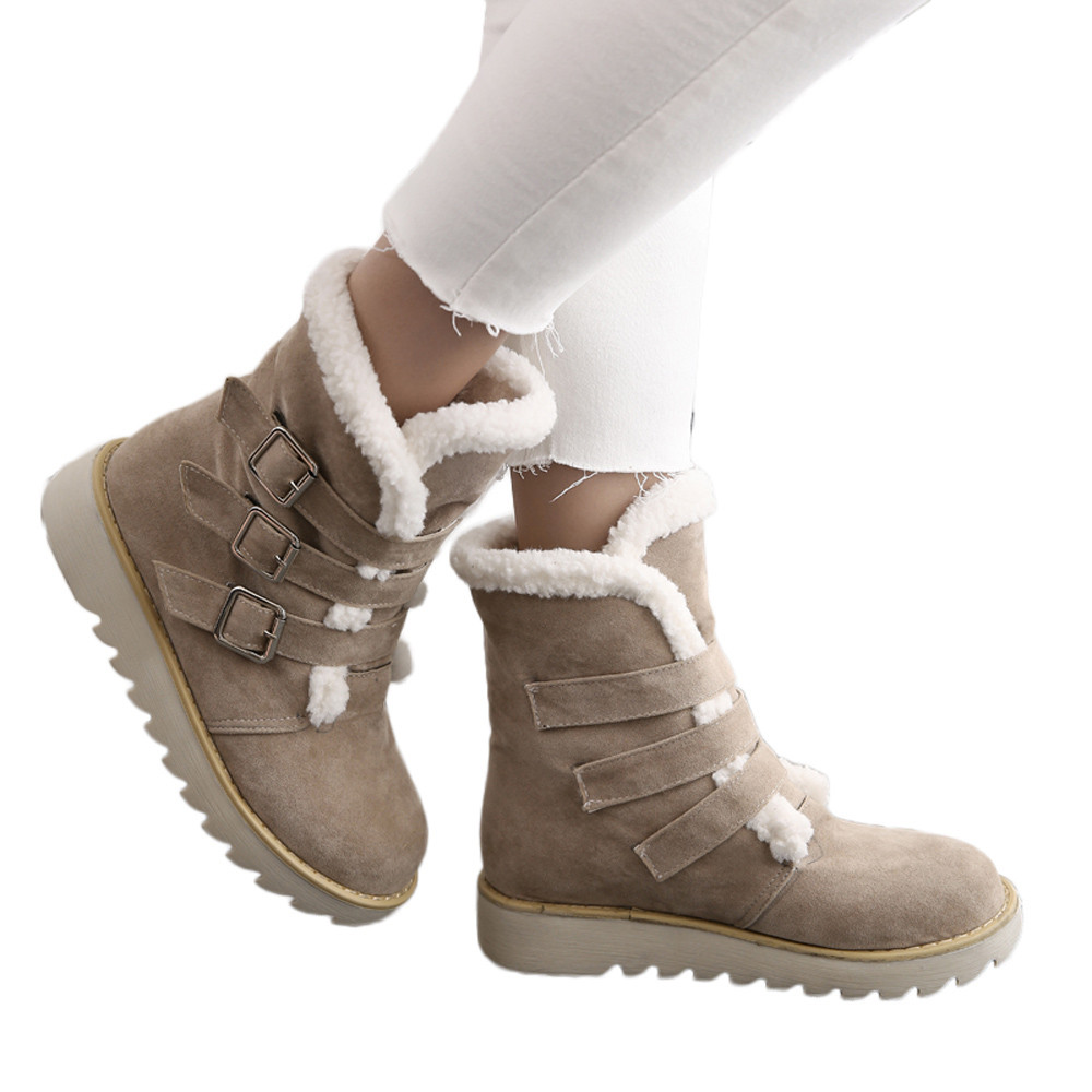 Straightforward Youyedian Women Snow Boots Suede Round Toe Buckle Strap Flat Shoes Keep Warm Short Tube Scarpe Donna Elegante #l6 High Quality And Low Overhead Women's Boots