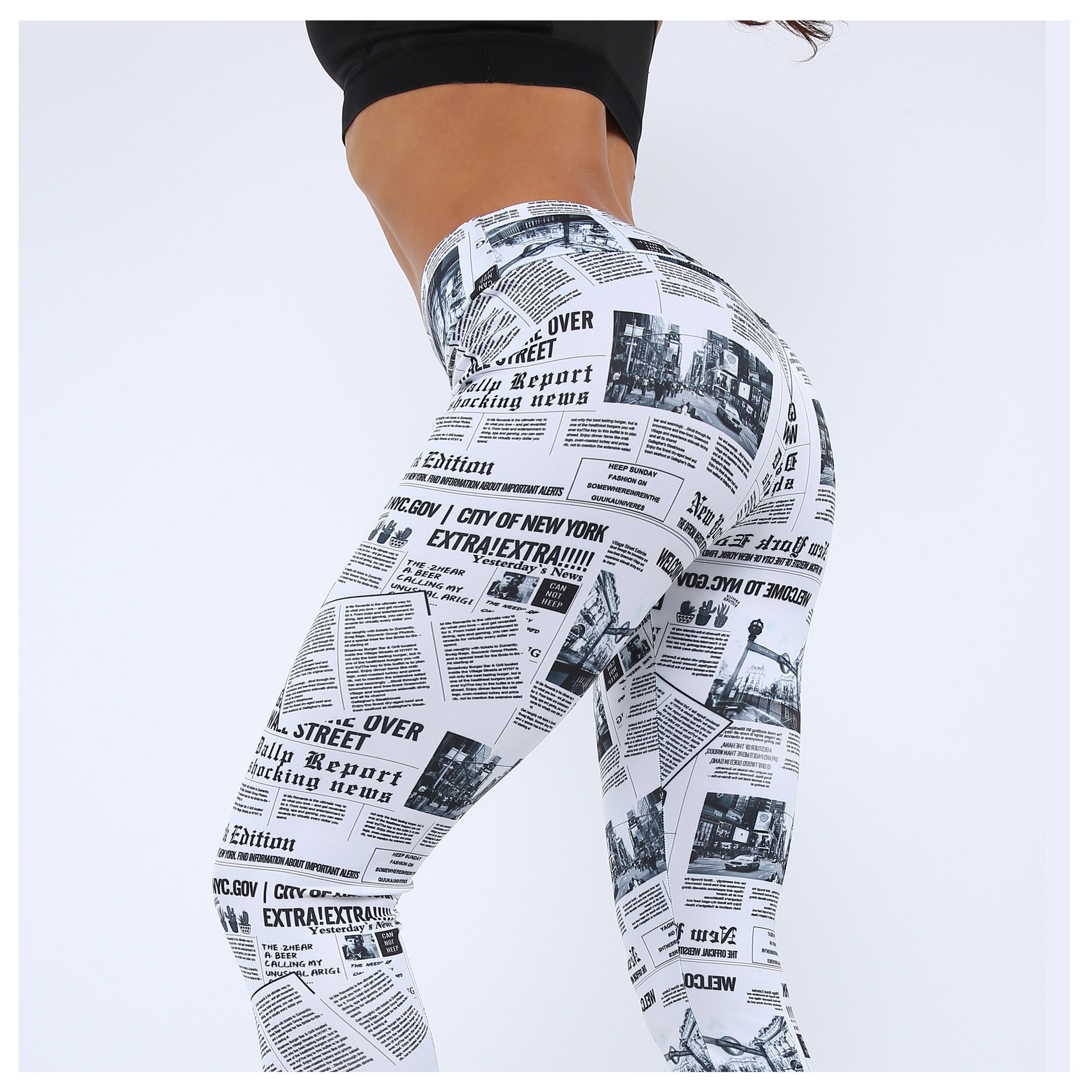 Workout   Leggings   Black White Highstreet Newspaper Letter Print Streetwear   Legging   2019 Summer Fitness Women Sexy Casual Trousers