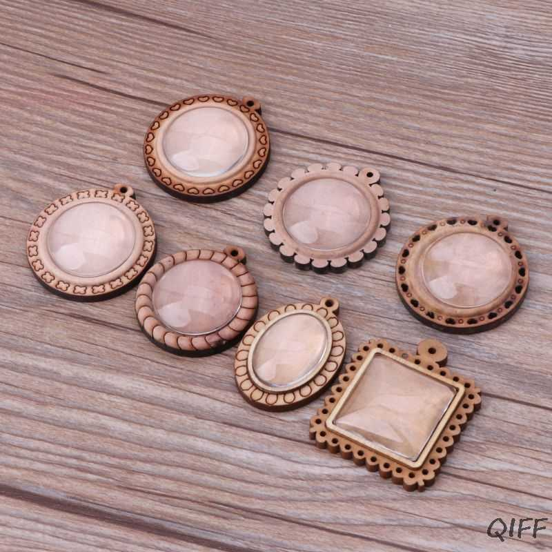 Wood Round Frame Blank Bezel Pendant Trays Round Cabochon Setting Jewelry Making
