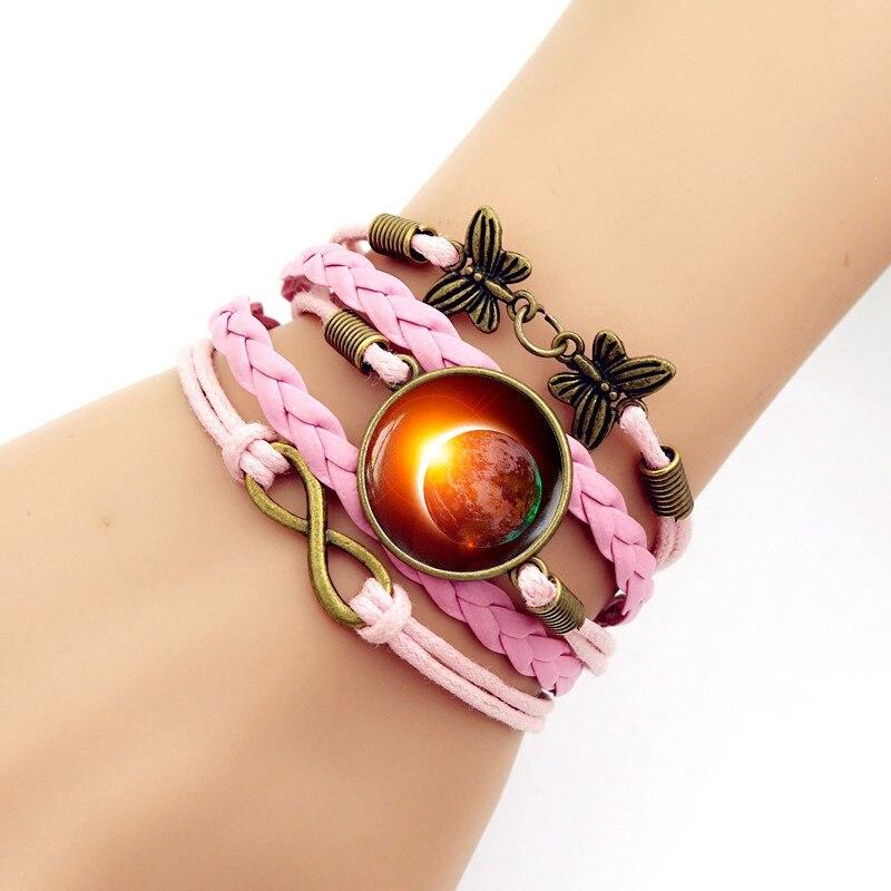 New Trendy Milky Way Starry Sky Solar Eclipse Glass Cabochon Bracelet Girls Braided Wristband Bracele Valentine Gift