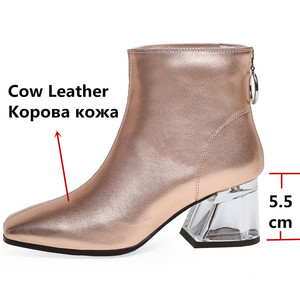 Image 3 - FEDONAS Autumn Winter Fashion Genuine Leather Women Ankle Boots Back Zipper High Heels Party Night Club Shoes Woman Short Boots