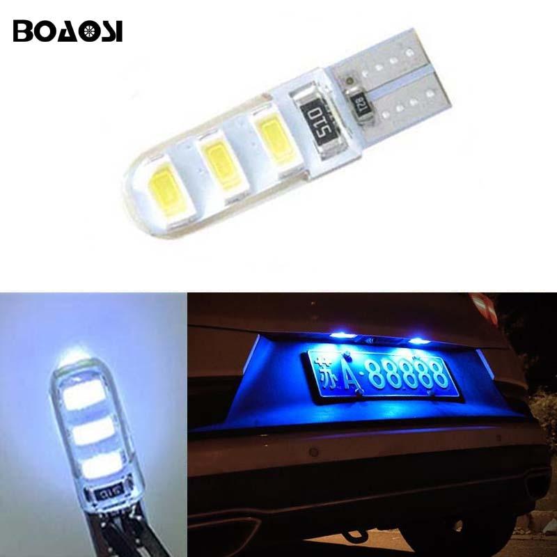BOAOSI 1x супер яркий освещение номерного знака нет ошибка Лампа T10 6SMD 5630 СИД для Peugeot 206 207 306 307 406 407 308 5008 стайлинга автомобилей