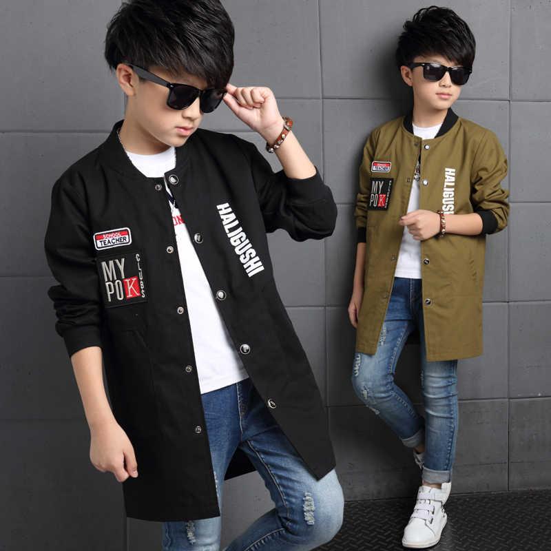 Куртки для мальчиков бейсбольные пальто с надписями для мальчиков, одежда детская верхняя одежда длинный тренч на весну и осень 2017, топы для мальчиков-подростков, От 6 до 14 лет
