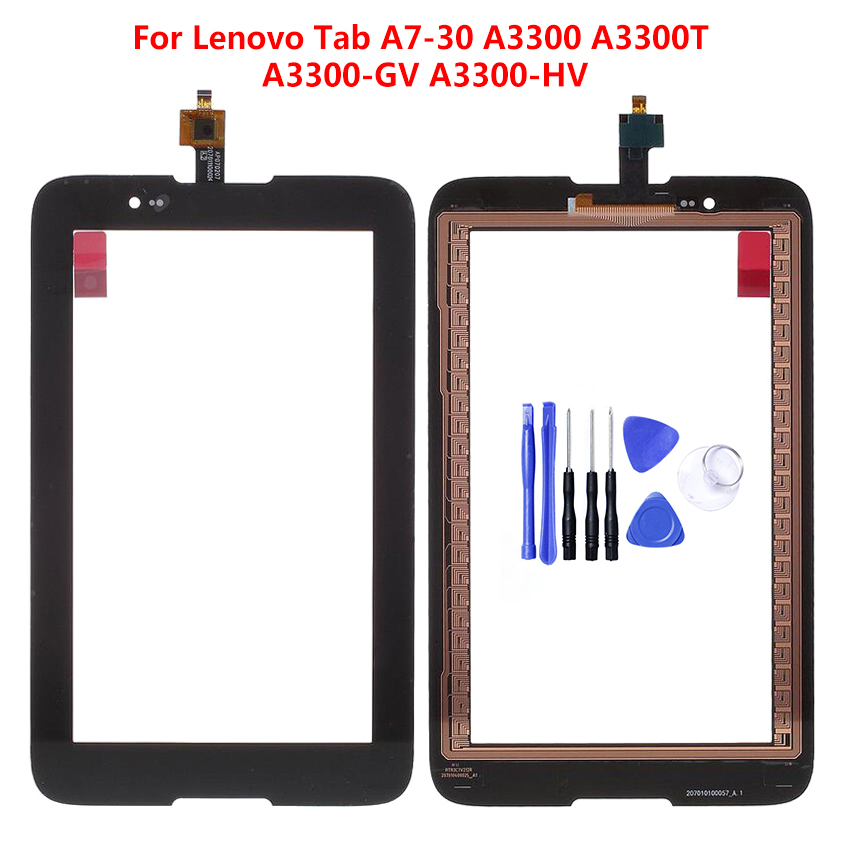 Black For <font><b>Lenovo</b></font> Tab A7-30 <font><b>A3300</b></font> A3300T <font><b>A3300</b></font>-<font><b>GV</b></font> <font><b>A3300</b></font>-HV Digitizer Touch Screen Panel Sensor Glass Replacement Free Tools image