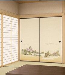 Японский Fusuma бумага 2 листа/пара васицу деревянный блок декор декоративные двери стены Бумага Soji раздвижные двери спальни, гостиной