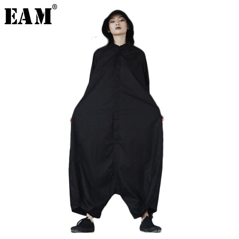 [EAM] 2018 Весна Мода новой личности свободные большой Размеры одноцветное Цвет Половина рукава О-образным вырезом комбинезон Для женщин YA11601