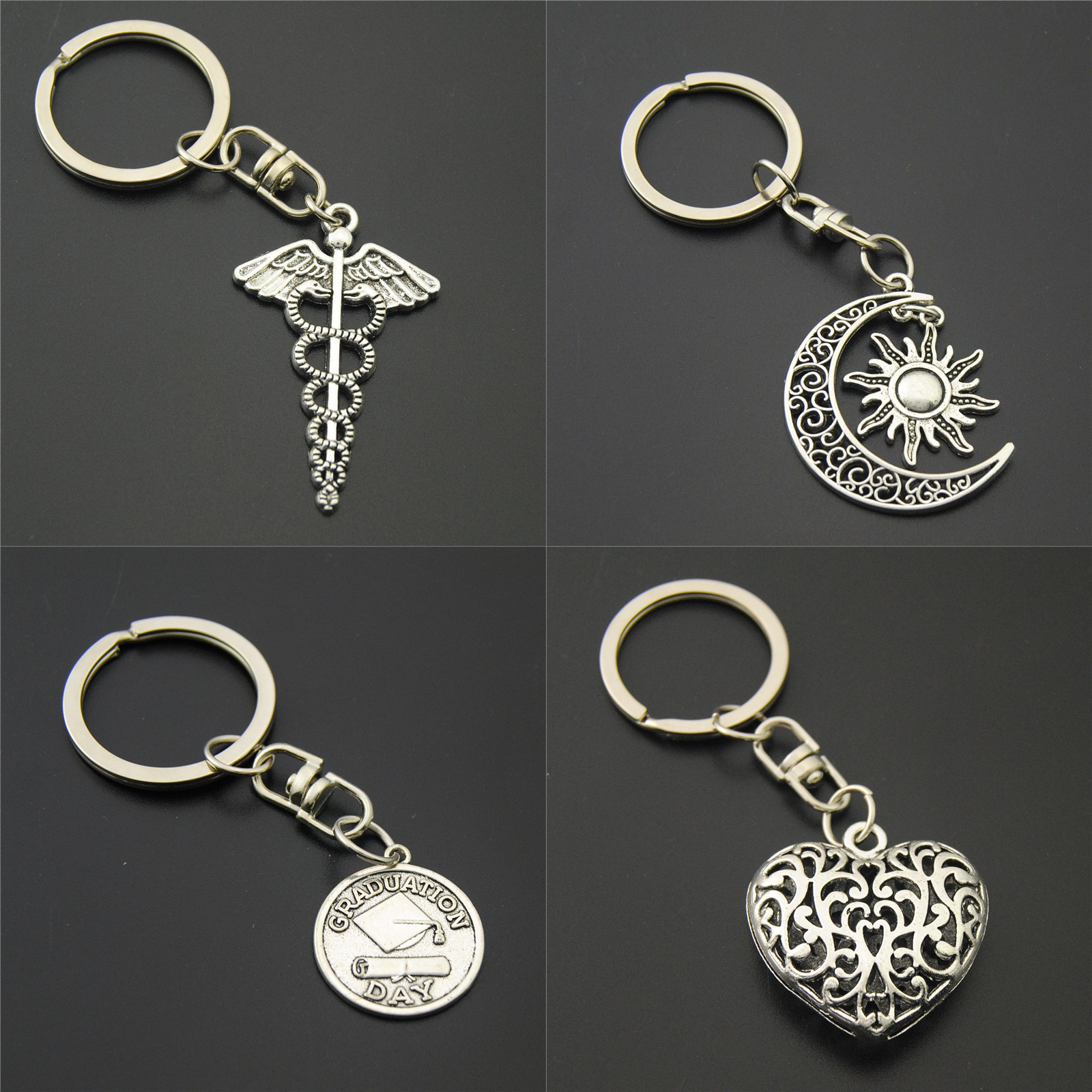 1pc Anitue Silver Sun And Moon Charms Heart Keychains Symbol Mercurial Staff With Wing Snake Keyring Diy Handmade