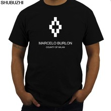 Marcelo Burlon Logo Men Round Neck Cotton T Shirts Black Size S-3XL euro size cotton tshirt men new brand t(China)