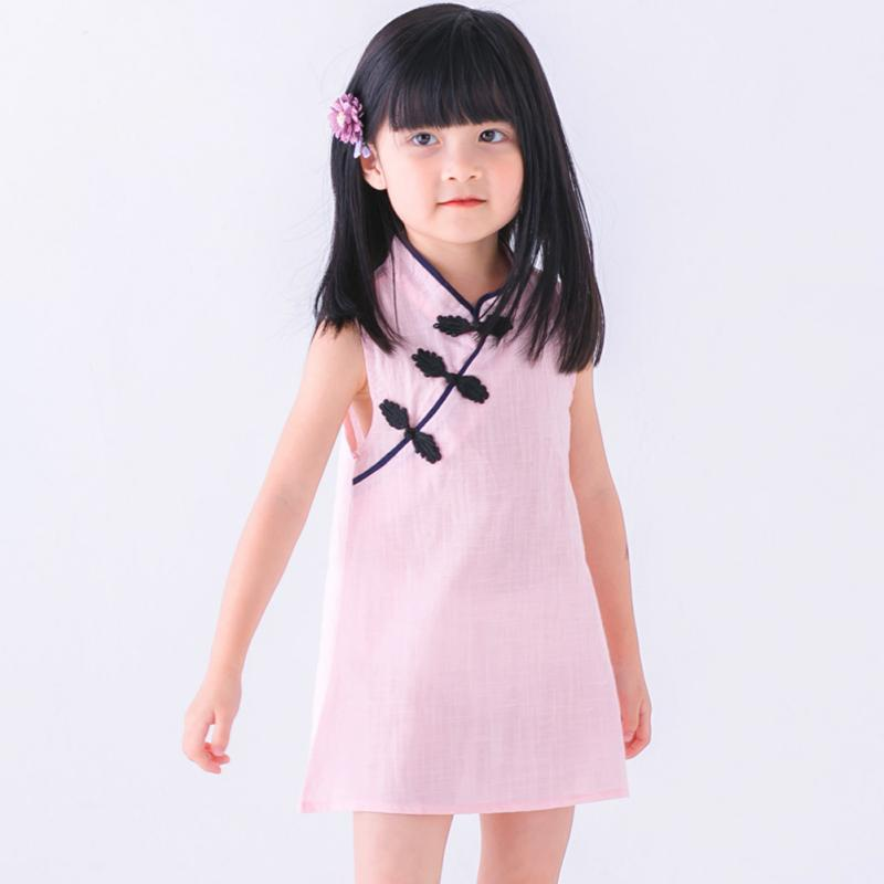 Chinese Style Baby Girls Dress Solid Color Vintage Cheongsam Kids Linen Sleeveless Dresses Party Costume Children Clothes