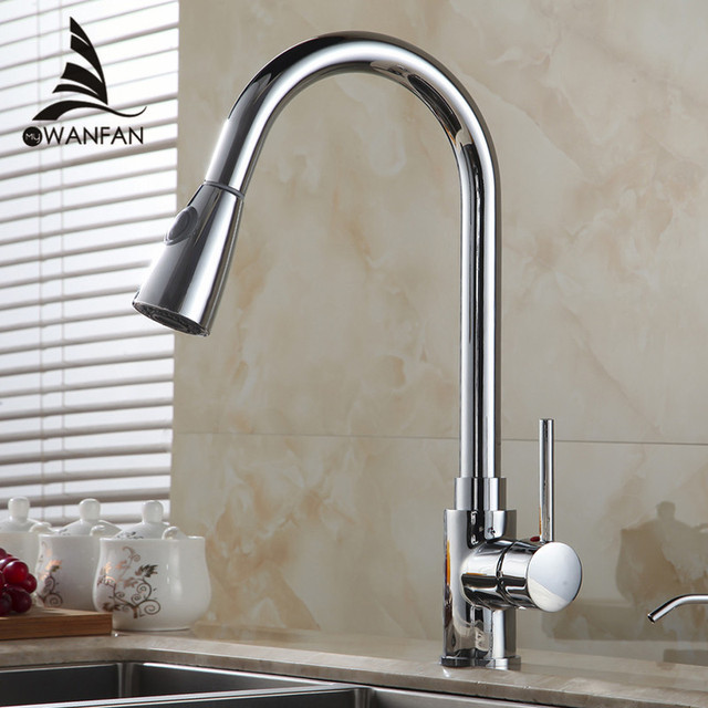 Kitchen Faucets Silver Single Handle Pull Out Kitchen Tap Single Hole Handle Swivel 2 Function Water Outlet Mixer Tap 408906
