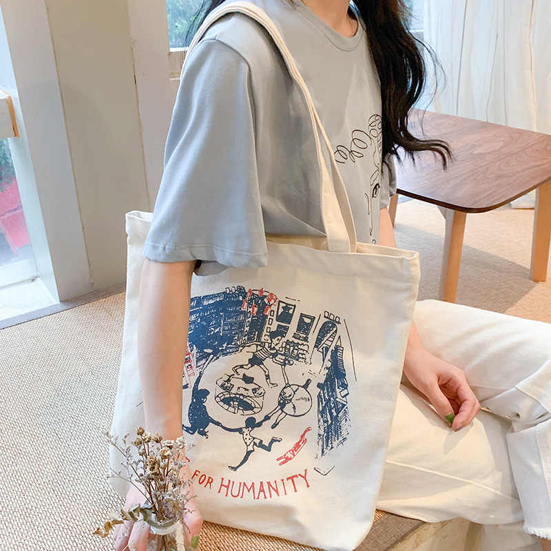 Women Canvas Shoulder Bag Ladies Pure Cotton Cloth Handbag Foldable Shopping Tote Students' Simple Eco Environmental Shopper Bag
