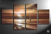 цены hand-painted wall art sea sun rising the boat home decoration abstract  Landscape oil painting on canvas 4pcs/set mixorde