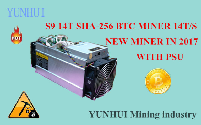 YUNHUI Mining machine supplier sell AntMiner S9 14T Bitmain 14Th/s(with psu) Asic Miner BTC Miner BTC Mining Power 1400W on wall