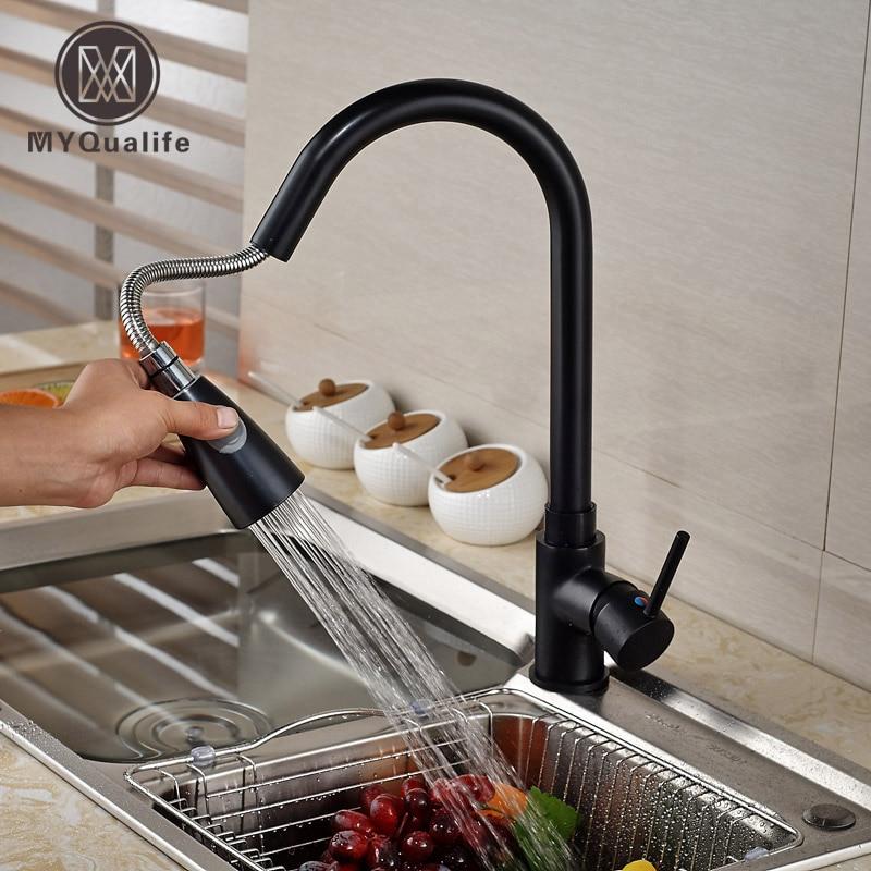 Luxury Brass Pull Out Sprayer Kitchen Sink Faucet Deck Mount Kitchen Mixer taps Single Lever