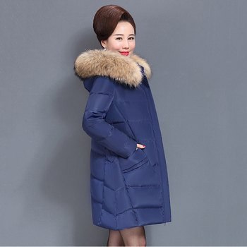 Winter Women down coat 2018 fashion new solid color Plus size mid-long High-end fur collar hooded warm female down jacket ll793