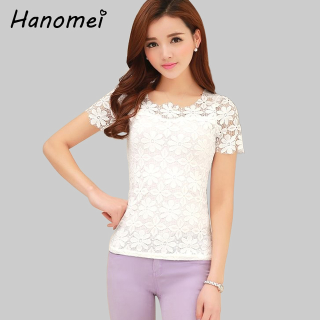 5XL plus size women clothing summer camisa feminina short-sleeve crochet lace blouses chiffon blusas de renda feminino shirt c69