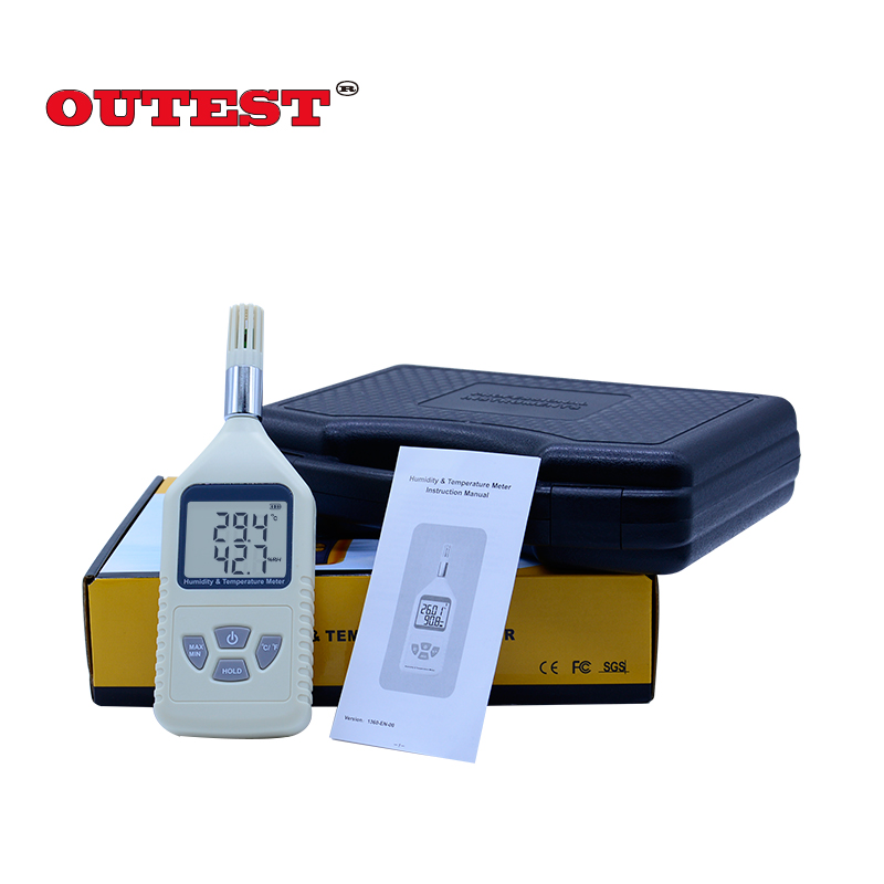 OUTEST Digital hygrometer 5%RH ~ 98%RH(-10~50C) humidity temperature tester + MAX MIN Data hold function GM1360 digital indoor air quality carbon dioxide meter temperature rh humidity twa stel display 99 points made in taiwan co2 monitor