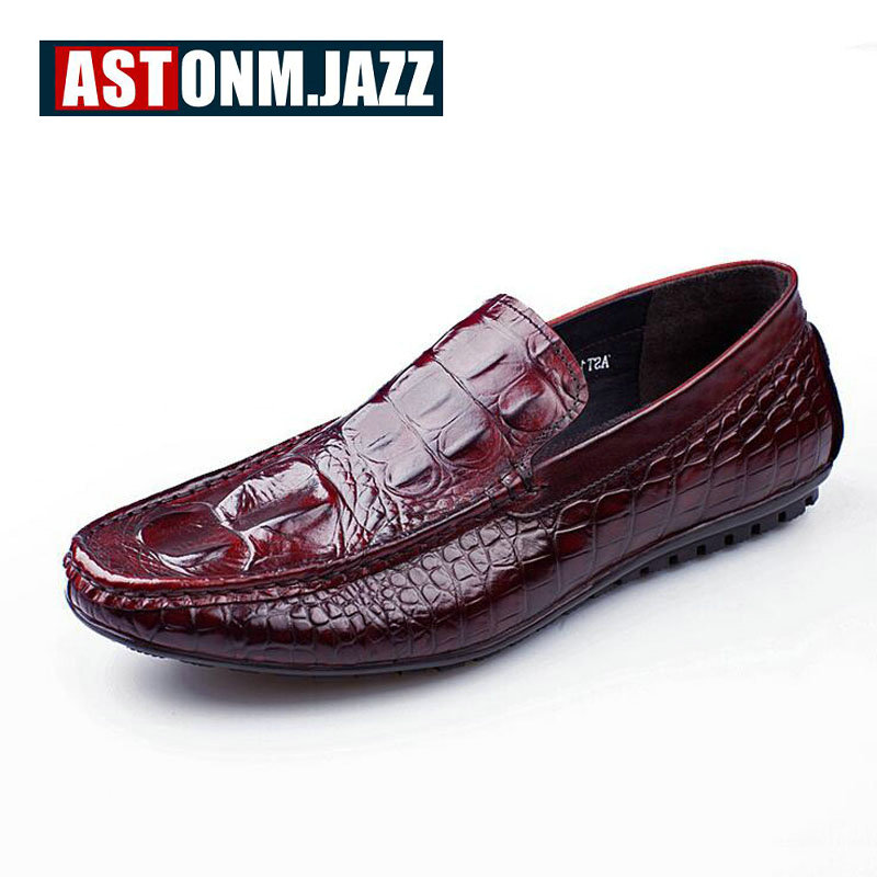 Men's Casual Genuine Leather With Crocodile Skin Men's Slip-on The Penny Loafers Men Velvet Dress Shoes Mens Fashion Moccasins men s crocodile emboss leather penny loafers slip on boat shoes breathable driving shoes business casual velet loafers shoes men