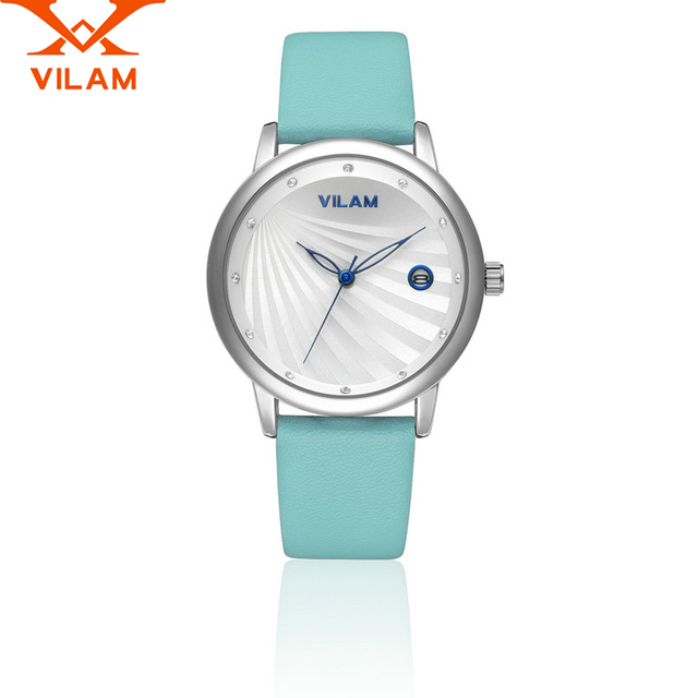 VILAM Women Leather Clock Waterproof  Female women dress Quartz WristWatch watches wedding student girl Party date Wrist watch 9