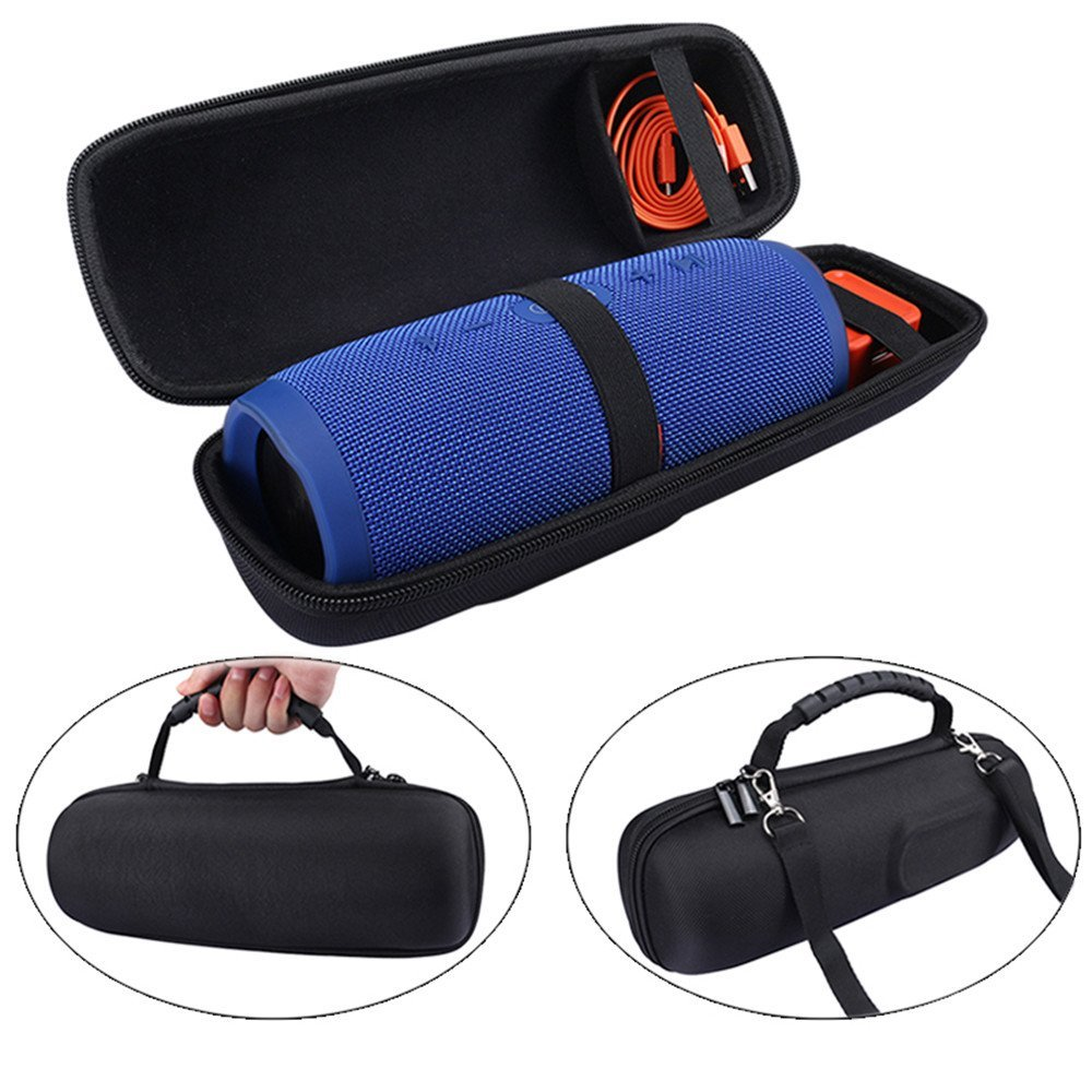 New PU Carry Protective Speaker Box Cover Pouch Bag Case For JBL Charge 3 Charge3 Pulse 2-Extra Space for Plug&Cables(With Belt)