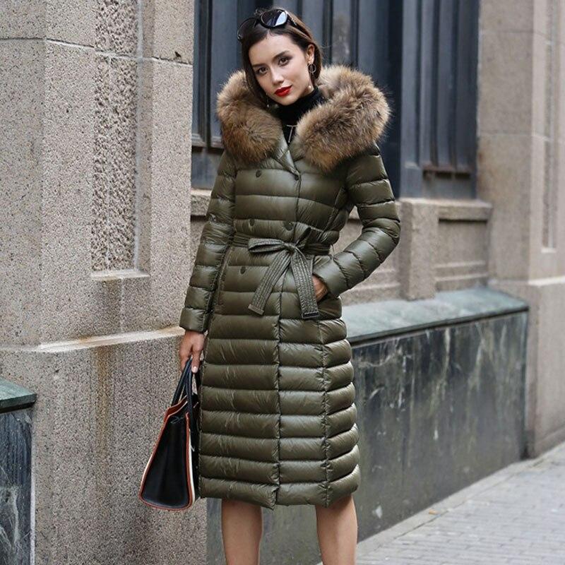 Real Fur Winter   Down   Jacket Women Hood   Coat   2018 Brand New Big Raccoon Fur Collar Army Green Casual Long Slim Warm Women Parka