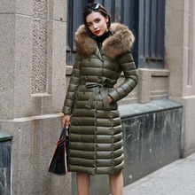 Real Fur Winter Down Jacket Women Hood Coat 2018 Brand New B