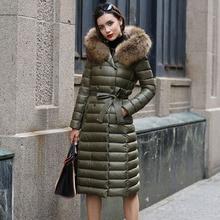 Real Fur Winter Down Jacket Women Hood Coat 2018 Brand New B