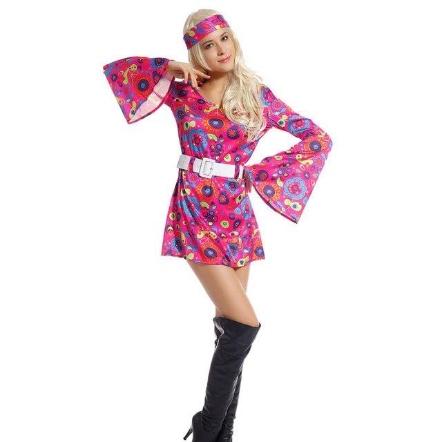 Simpática Disfraz de Hippie Vintage para Mujer para Fiesta Talla ...