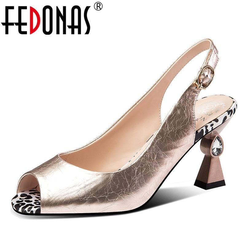 FEDONAS Fashion Vintage Blingbling Genuine Leather Women Sandals 2019 Summer New Peep Toe Strange Heels Party
