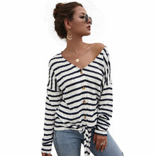Diwish 2019 New Autumn Women Thin sweater Striped V-Neck Long Sleeve Casual Cardigan Office Ladies Clothing
