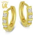 18K Yellow Gold Over 925 Sterling Silver Bar Set Round Cut CZ Huggies Hoop Earrings For Women Men GemStoneking