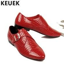 Los Hombres de moda Pisos punta estrecha de cuero Genuino Casual de Negocios Masculinos Otoño zapatos Transpirables Barco 1.9
