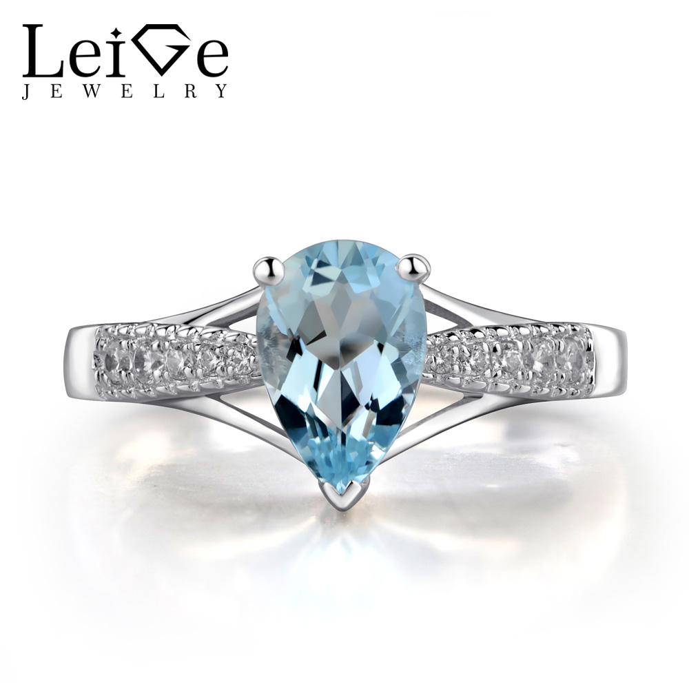 Leige Jewelry Pear Cut Aquamarine Ring Natural Blue Gemstone Wedding  Engagement Rings For Women 925 Sterling Silver Fine Jewelry