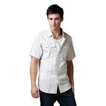 ブランドシャツメンズカジュアルシャツ半袖ブラウン/グリーンストライプドビー綿 サイズ 洗浄米国/Eropen 100%