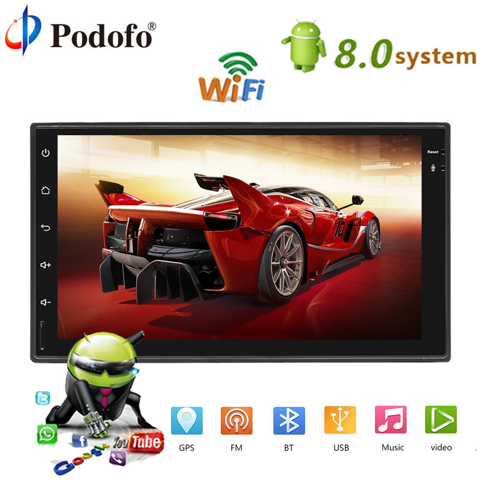 Podofo 2 DIN Android 8.0 Car Multimedia Player GPS Navigation Bluetooth Car Radio Touch Screen MP5 Player 2din Autoradio TF USB podofo 2 din car multimedia player gps navigaiton camera map 7 hd touch screen bluetooth autoradio mp3 mp5 player 7018g radios