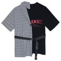 Fake Two Piece Dress Streetwear Splice T Shirt Dress Women Summer Dress Letter Designer Mini Dress Korean Fashion Clothing C047F