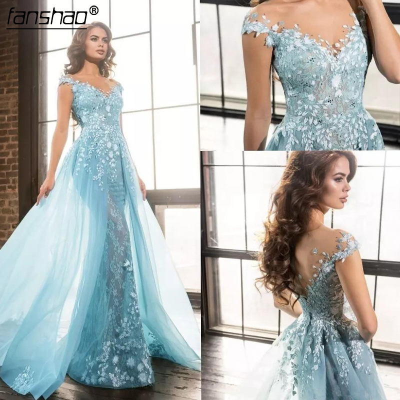 Active Sky Blue Evening Dresses 2019 Mermaid Cap Sleeves Lace Beaded Islamic Dubai Saudi Arabic Long Evening Gown Prom Dress Commodities Are Available Without Restriction