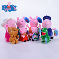 Genuine 4 8pcs/a lot pink Peppa Pig Plush pig Toys high quality hot sale Soft Stuffed cartoon Animal Doll For Children's Gift