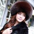 Moda Feminina Chapéus De Pele Venda Quente Real Fox Fur Caps Com Topos De Couro Genuíno da Pele Quente Chapéu Do Inverno Por Atacado YH133
