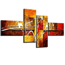 4 Piece Handpainted Modern Abstract Oil Painting Decorative Canvas Art Wall Picture Unique Gift For Living Room
