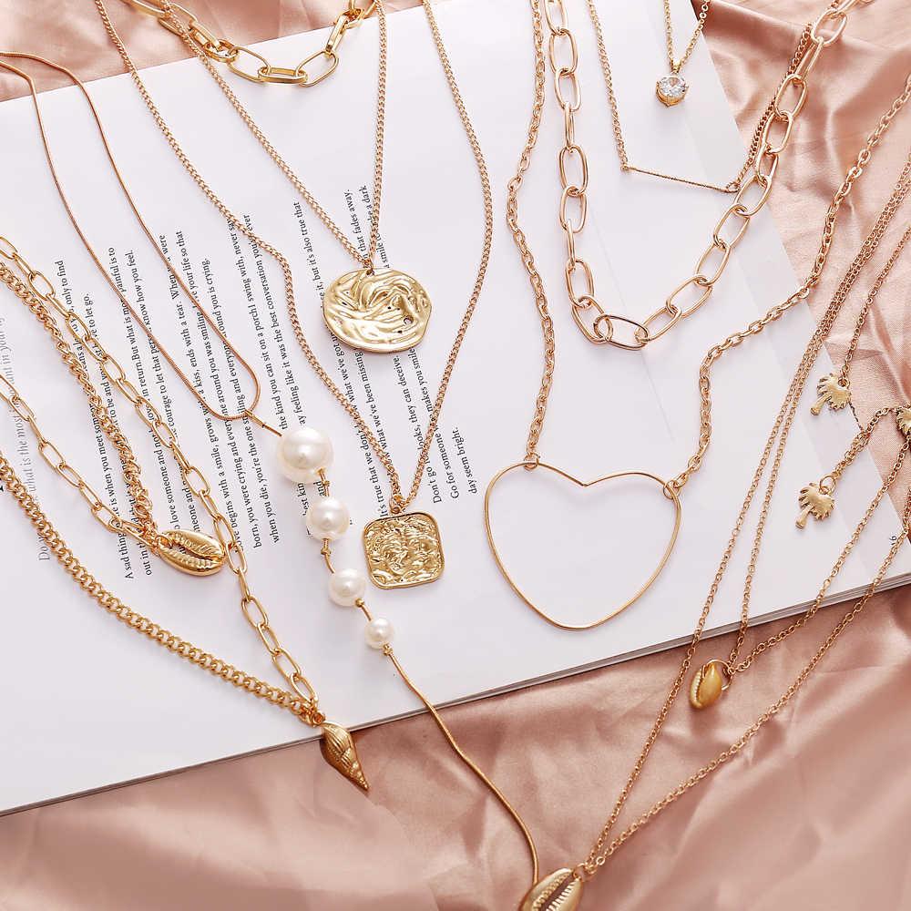 Collar de mujer de 17KM 2019 Multi capa perla Shell gargantilla collares y colgantes para damas moda encanto oro plata moda joyería