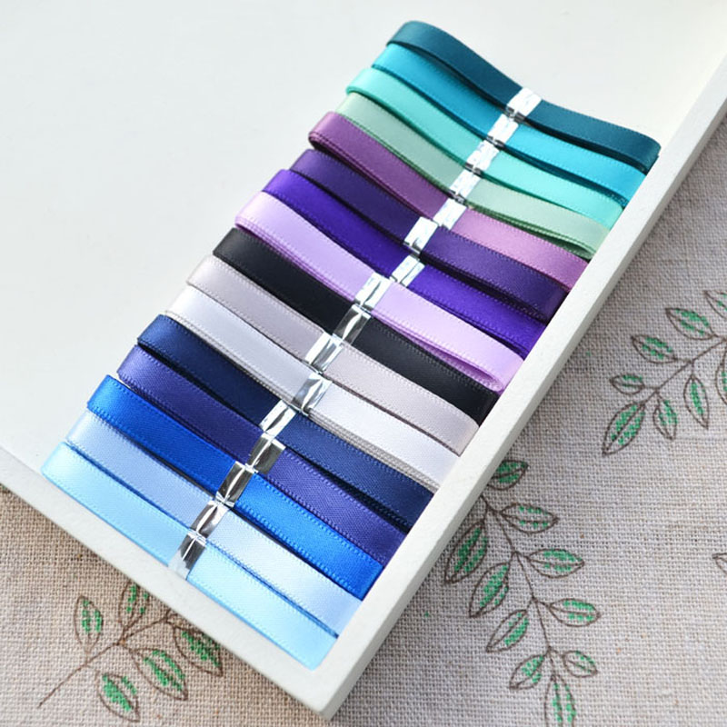 6mm x 16m mixed 16 plain colors grosgrain ribbon set for