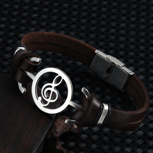 2018 hot liujun Retro Fashion Men's Bracelet Music Notes Stainless Steel Leather Bracelet For Men jewelry pulseira masculina