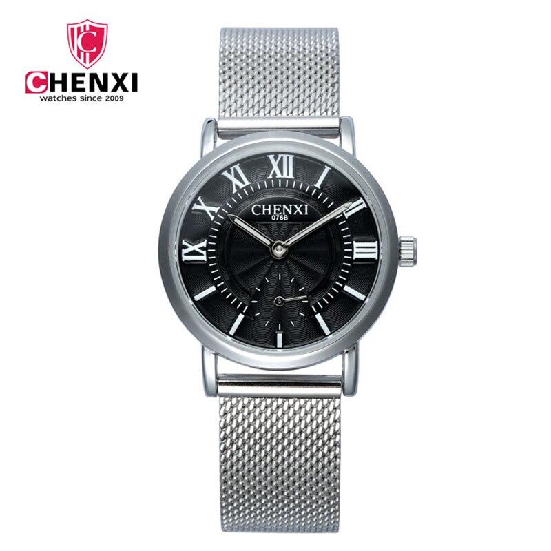 Luxury Brand CHENX Men Watch Silver Stainless Steel Unique Design Roma Numeral Quartz Casual Women Men Watch Birthday Gift