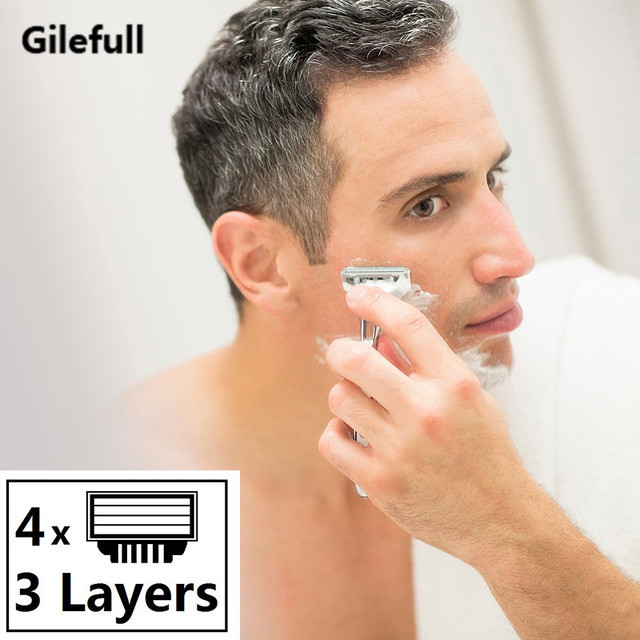 4pcs lot High quality Razor Blades for Men Face Care 3 layers Shaving Razor Blade Suit